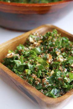 Kale salad with lemon Vinaigrette. Vegan, Gluten Free recipe.