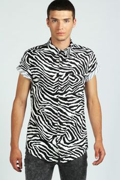 Short Sleeve Zebra Print Shirt at boohoo.com