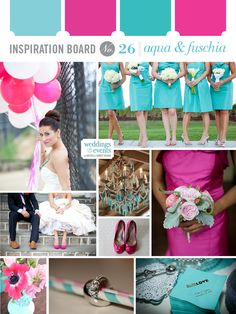 aqua and fuschia wedding inspiration board