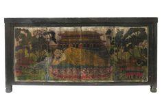 Chinoiserie Chic - Apollonia 4-Door Sideboard, Black/Multi