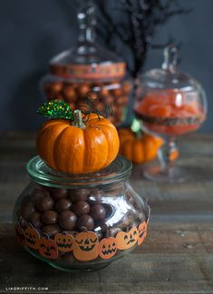 Halloween Candy Jar Wrappers using Martha Stewart border stickers  {Lia Griffith}