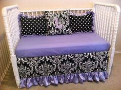 Love crib bedding, custom crib, set lavend, babi thing, pc set, lavend black, babi girl, eat babi, custom bed