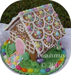 Spring Gingerbread House with Flowered Roof