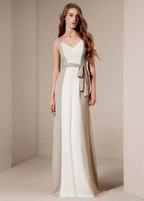Long bridesmaid dress features exquisite draped front panel and tie sash detail. Style VW360150 #WhitebyVeraWang #DavidsBridal #BridesmaidDress