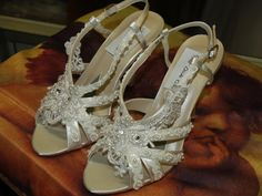 beautifully decorated crystal shoes are classic and fun!