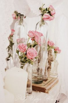 chic decor, pink roses, glasses, shabbi chic, pink wedding flowers
