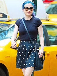 Star Tracks: Friday, July 18, 2014 | BLUE PERIOD | Blue hair, don't care! Anna Paquin shows off her new do (which also has purple streaks) while out and about in New York City on Thursday.
