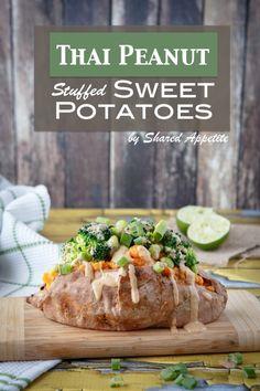 Thai Peanut Stuffed Sweet Potatoes