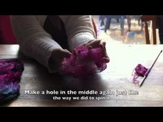 preparing silk hankies for spinning and knitting ... demonstration with subtitle-like text