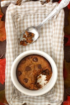This egg free Single Serving Pumpkin Chocolate Chip Cookie is a soft, cake-like cookie that you aren't required to share. Win, win.