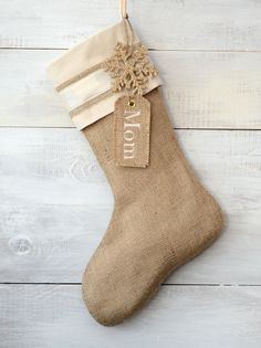 I like this because we could add names as the years go by and as guests vary...  Burlap Christmas Stocking Embellished with Gold by TwentyEight12 sock, christma stock, name tags, burlap stock, burlap christmas, handmade christmas stockings, stockings christmas, gift tags, rustic christmas