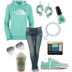 Tiffany Blue! mint green, starbuck, color, north face, tiffany blue, outfit, tiffani blue, accessories, shoe