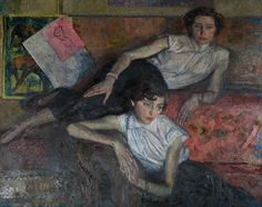 """The Sisters"", 1953, by Thomas Roland Rathmell (Welsh, 1912-1990)."