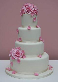 Hydrangea Rose wedding cake