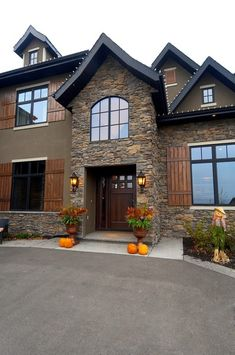 decor, exterior houses, exterior colors, stone, rock, benjamin moore, dream houses, shutters, exterior house colors