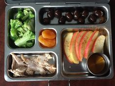Broccoli, olives, apples sprinkled with cinnamon dipped in raw honey, leftover crockpot chicken, and apricots