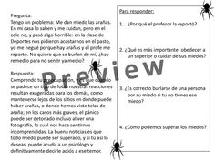 Authentic Reading about Miedos y Fobias. See more here: http://spanishplans.org/2014/10/16/resources-day-of-the-dead-and-halloween/
