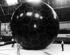 NASA, GRID SPHERE SATELLITE ECHO 1 1958: the inflated balloon satellite prototype. not used, but would've been a passive reflector of microwave signals for communication.