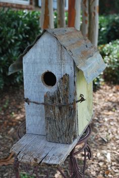 Wooded Birdhouse Barbed Wire Upcycled Recycled Shabby Folk Art plus Free Nesting Ball wood birdhous, upcycl birdhous, rustic birdhous