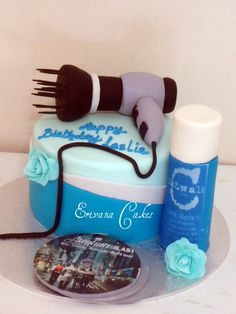 hair spray, cake idea, occup cake