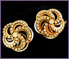 Scrumptious Swirls of Gold & Rhinestones in Large Vintage Clip-On Earrings by MarlosMarvelousFinds, $21.99
