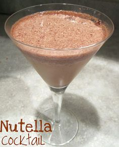 OMG...  Nutella Cocktail  1 cup ice  1/2 cup soy milk or regular milk  2 tablespoons Nutella  1 shot Frangelico  1 shot Kahlua or Baileys  1 shot whipped cream vodka or vanilla vodka    Put all the ingredients into a blender and blend until thick and creamy. Pour into a glass.