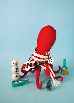 craft, toy, dressup, art, christmas snowman, hine mizushima, sculptur, octopus, needl felt