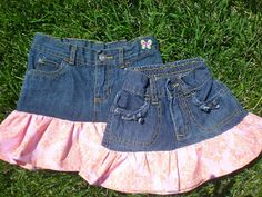 PDF Sewing Patterns for girls dresses and clothing by Pink Poodle Bows: Free Tutorial Upcycled Jean Skirt for Toddlers