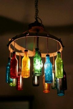 colored bottled chandelier...i would use a large embroidery wooden hoop