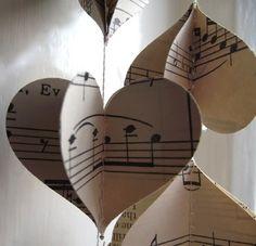 Sheet Music Heart Garland
