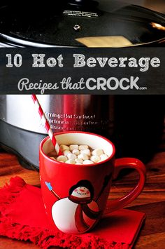 Crock Pot Hot Beverage Recipes: Great list of drink recipes you can make in your slow cooker. #CrockPot #SlowCooker