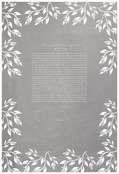 Ketubah - Chalkboard (Leaves Frame) #ketubah