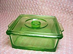 Green Depression Glass Covered Dish