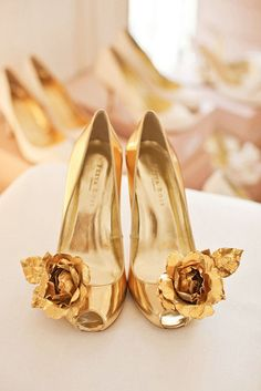 gold shoes.