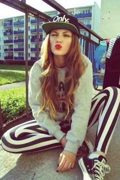 Sweater. Stripes. Snapback. Converse. Dope. Fashion.