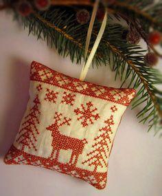 Cross Stitched Folk Art Christmas Redwork Nordic by CherieWheeler