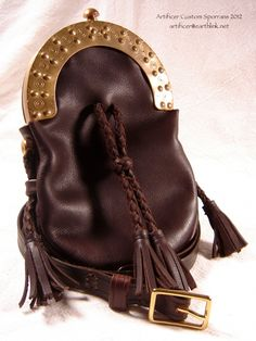 Re-bag for ex-MoD brass sporran cantle.  Chocolate Cowhide and dyed-to-match sporran strap.