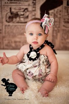 Vintage Stitches Sparkle Paris Romper - girl clothing - baby clothing - baby romper on Etsy, $35.00