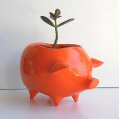 Ceramic Pig Planter Vintage Design in Orange by fruitflypie, $34.00