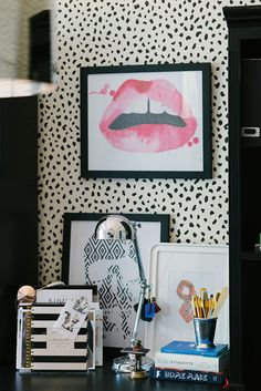 black office with stylish details... Love that wallpaper! Via Waiting on Martha