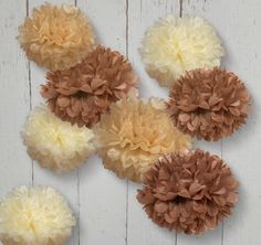 Tissue Paper Pom Poms for 50th Wedding Anniversary Reception Decor.