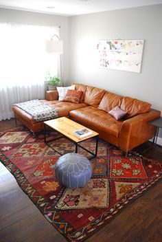 Modern Classic Living Room / Leather Sofa / Moroccan Leather Pouf / Kilim Rug /
