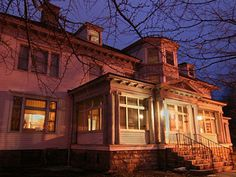 Houghton Mansion in North Adams, Massachusetts  - many paranormal investigators have been through this place  - reports of phantom knocks on the walls, footsteps in the hallways, voices of a female echo in some of the rooms, lights turn on/off on their own, shadow figures are seen