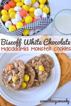 Biscoff White Chocolate Macadamia Monster Cookies; something swanky