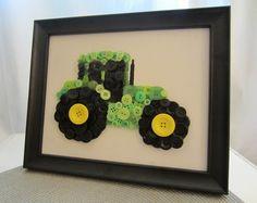 DIY - Button Tractor for Boys Transportation Room