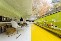 selgas cano architecture office by iwan baan - striking use of colour and focus. Nice. studio, office interiors, office spaces, office interior design, office designs, the office, forest, spanish architecture, workspac