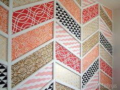 Stenciled Herringbone Patchwork Accent Wall {Sawdust and Embryos}