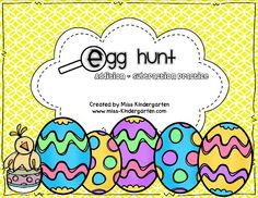 """Going on an Egg Hunt: Math Style"" (from Miss Kindergarten; free)"