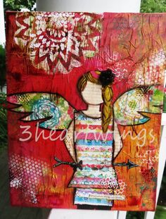 Original Angel Maggie 11x14 Mixed Media painting by 3Heartwings