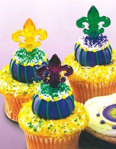 Fleur de Lis Cupcake picks for Mardi Gras